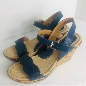 BOC Leather Cork Floral Blue Wedges Size 8